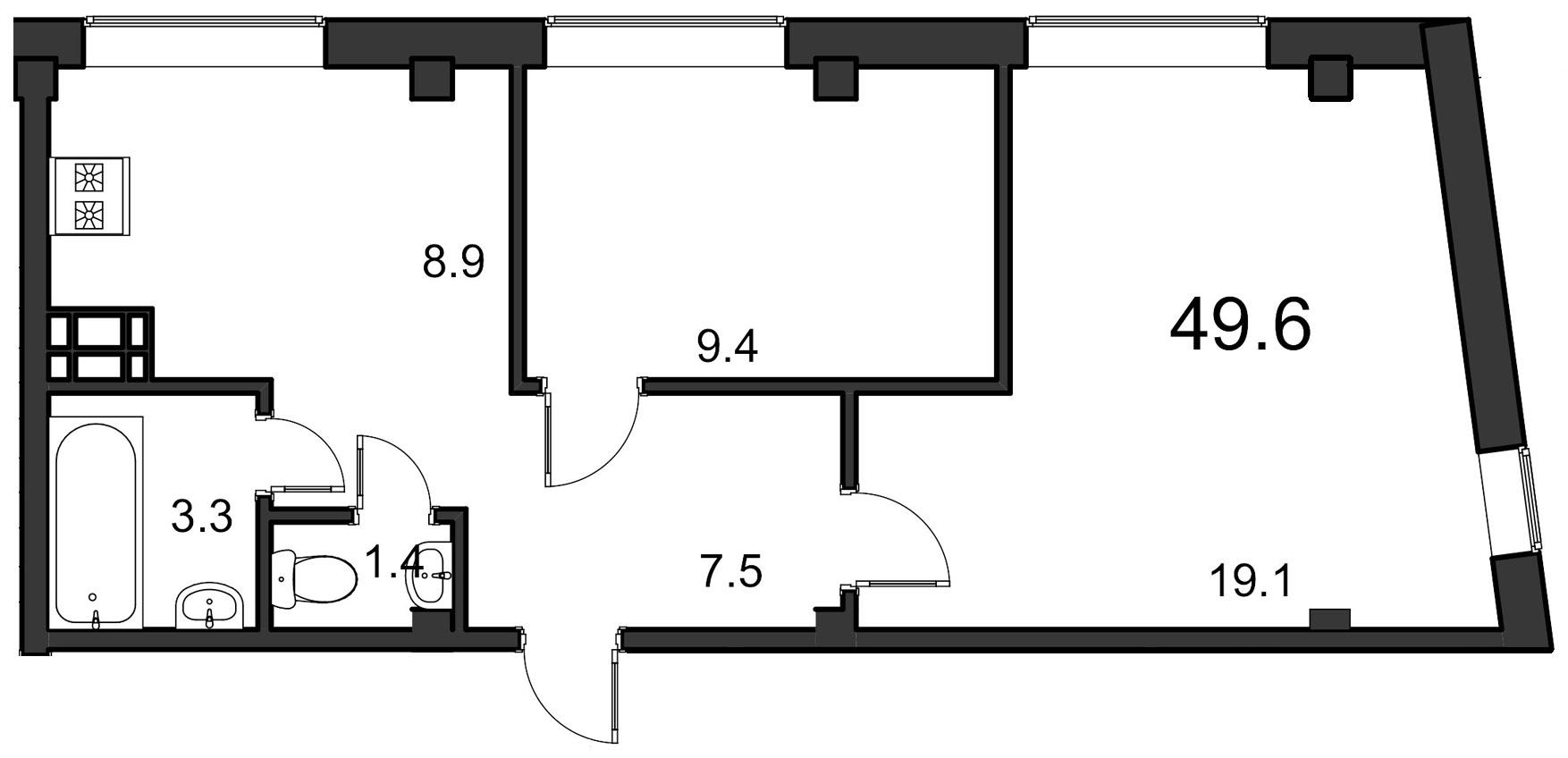 Планировка Двухкомнатная квартира площадью 49.6 кв.м в ЖК «ORANGE»