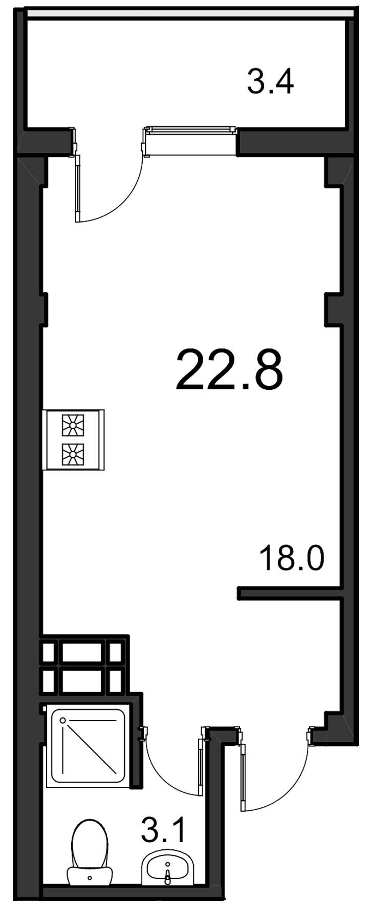 Планировка Студия площадью 22.8 кв.м в ЖК «ORANGE»