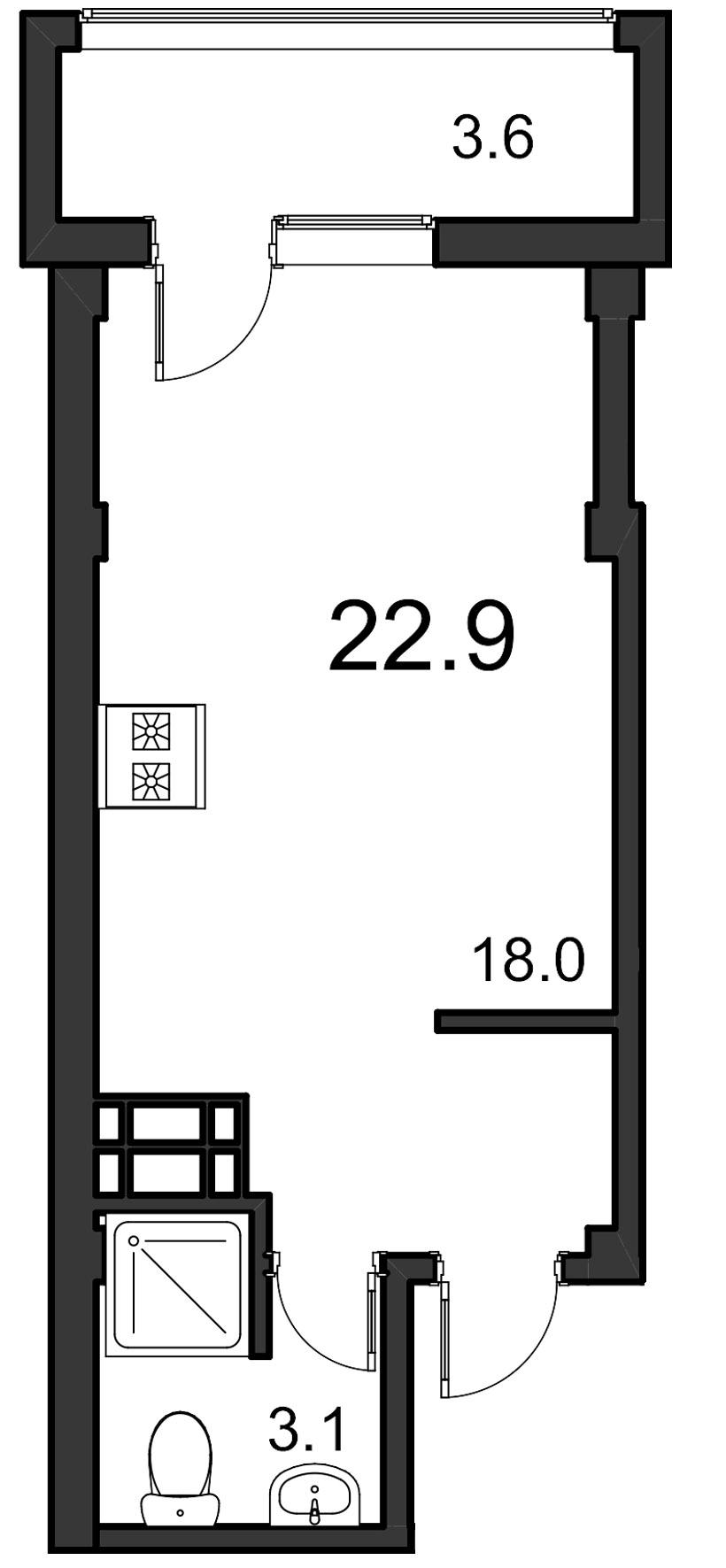 Планировка Студия площадью 22.9 кв.м в ЖК «ORANGE»