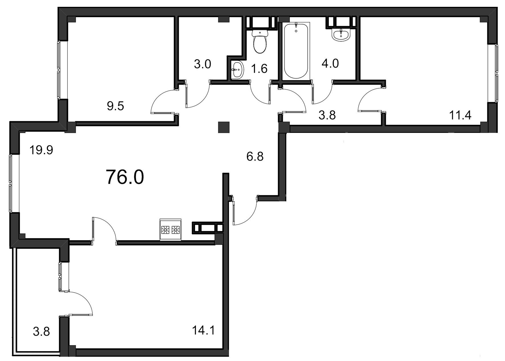 Планировка Трёхкомнатная квартира площадью 76 кв.м в ЖК «ORANGE»
