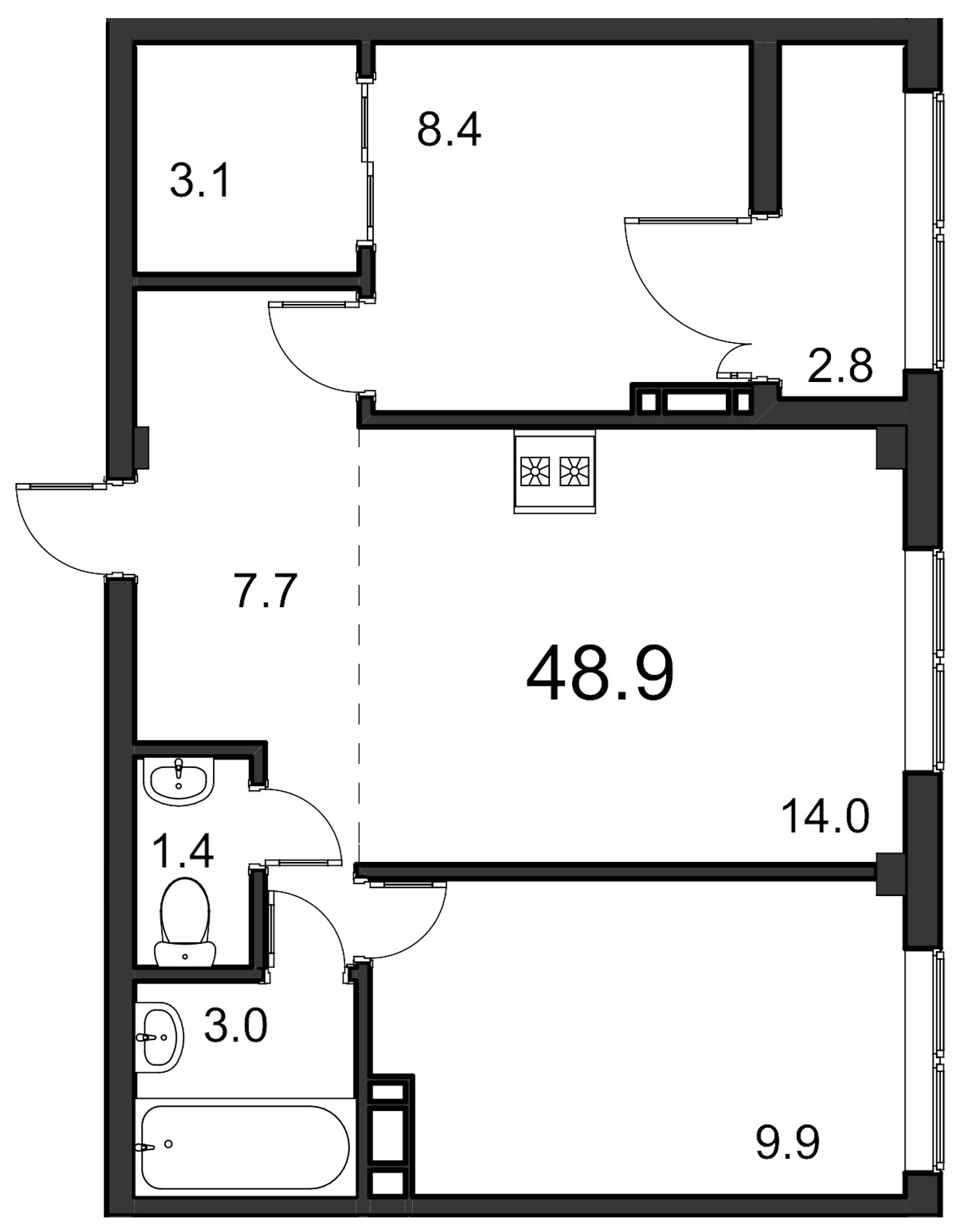 Планировка Двухкомнатная квартира площадью 48.9 кв.м в ЖК «ORANGE»