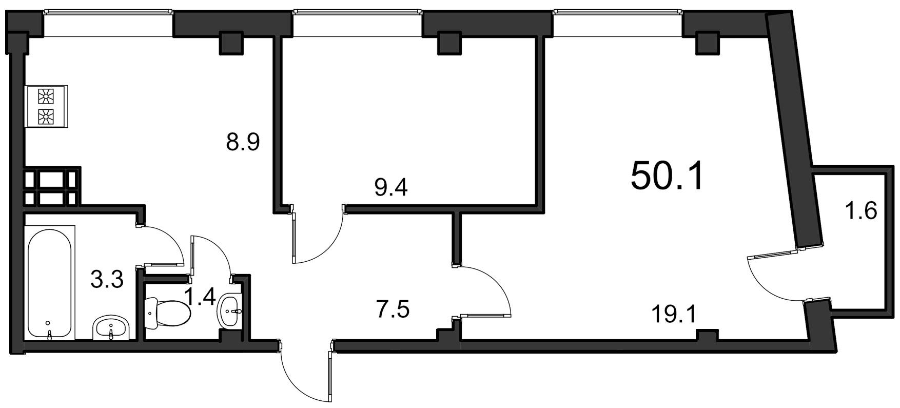 Планировка Двухкомнатная квартира площадью 50.1 кв.м в ЖК «ORANGE»